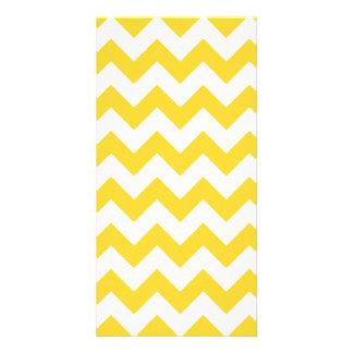 Yellow Zigzag Stripes Chevron Pattern Photo Cards