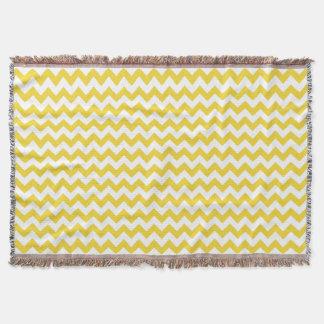 Yellow Zigzag Stripes Chevron Pattern Throw Blanket