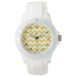 Yellow Zigzag Stripes Chevron Pattern Watch
