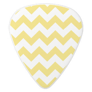 Yellow Zigzag Stripes Chevron Pattern White Delrin Guitar Pick