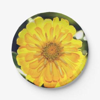 Yellow Zinnia Paper Plate