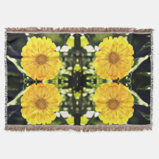 Yellow Zinnia Throw Blanket