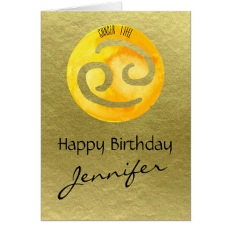 Yellow Zodiac Sign Cancer on Gold Background Card