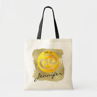 Yellow Zodiac Sign Cancer on Gold Background Tote Bag