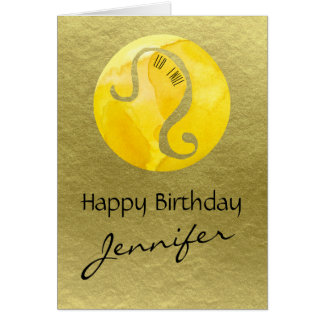 Yellow Zodiac Sign Leo on Gold Background Card