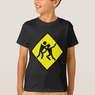 Yellow Zombie Caution Sign T-Shirt