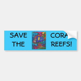 """Yellowbar Angelfish Coral Reef Art """"Stained Glass"""" Bumper Sticker"""