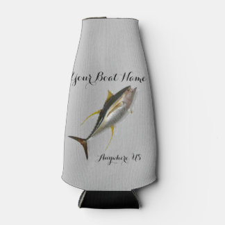 Yellowfin Tuna Custom Boat Name Bottle Cooler