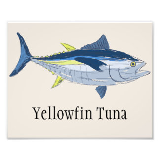 Yellowfin Tuna Fishing Boat Art Print, Yacht Decor Photo Art