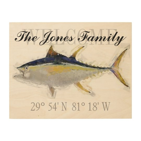 Yellowfin Tuna Welcome Sign with GPS Coordinates