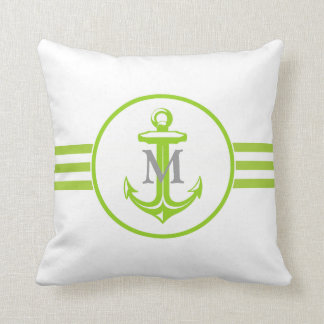 Yellowgreen Anchor on White Monogrammed Pillow