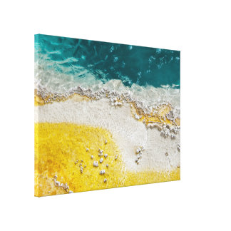 Yellowstone Abstract in Teal and Yellow Canvas Print