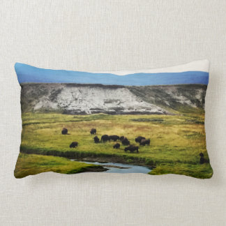 Yellowstone Buffalo in the Valley Lumbar Pillow