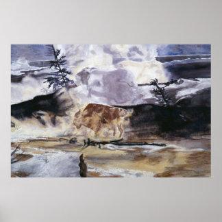 Yellowstone Buffalo in Winter Poster