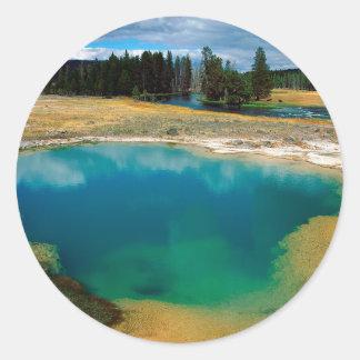 Yellowstone Morning Glory Pool Wyoming Round Sticker