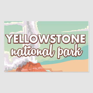 Yellowstone national park cartoon travel poster sticker