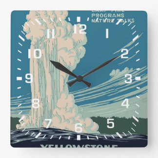Yellowstone National Park Square Wall Clock