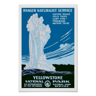 Yellowstone National Park US Vintage Travel Poster