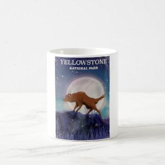 Yellowstone National Park wolf vintage poster Coffee Mug