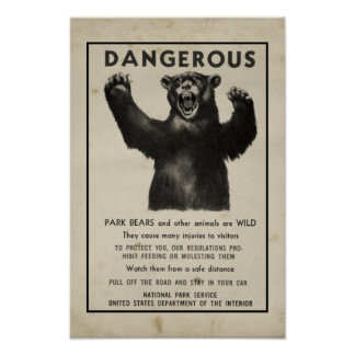 Yellowstone Park Bear Vintage Warning 1959 Poster