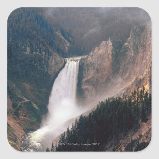Yellowstone River and Lower Falls , Yellowstone Square Sticker