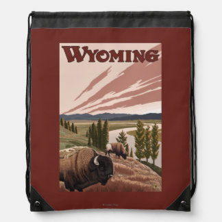 Yellowstone River Bison Vintage Travel Poster Backpack