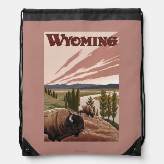 Yellowstone River Bison Vintage Travel Poster Backpacks
