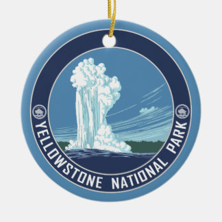 Yellowstone Souvenir - SINGLE-SIDED Round Ceramic Ornament