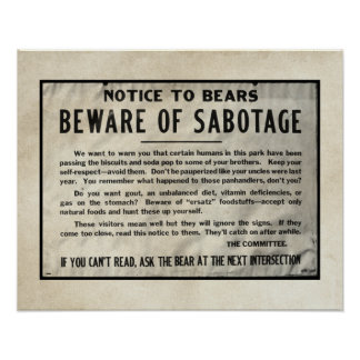 Yellowstone Warning Notice Park Bears 1959 Humour Poster