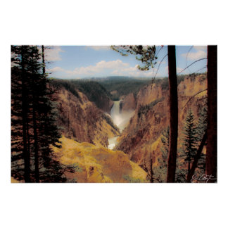 Yellowstone Waterfall Poster