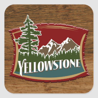 Yellowstone Wood Square Sticker
