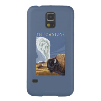 YellowstoneBison with Old Faithful Galaxy S5 Cases