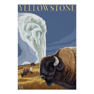 YellowstoneBison with Old Faithful Poster