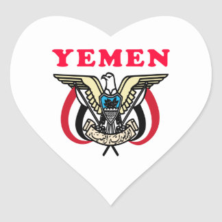Yemen Coat Of Arms Designs Heart Sticker