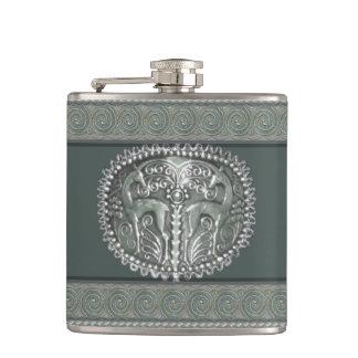 Yemenite Silver Gazelles Hip Flask