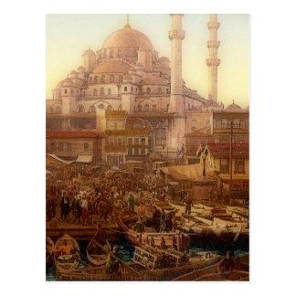 Yeni Cami mosque and Eminönü bazaar -ISTANBUL Postcard