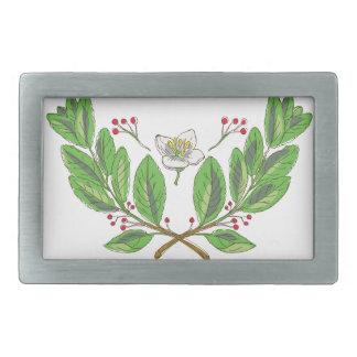 Yerba Mate Flower Leaf and Fruit Drawing Belt Buckle