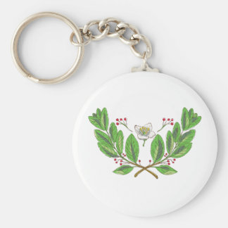 Yerba Mate Flower Leaf and Fruit Drawing Keychain