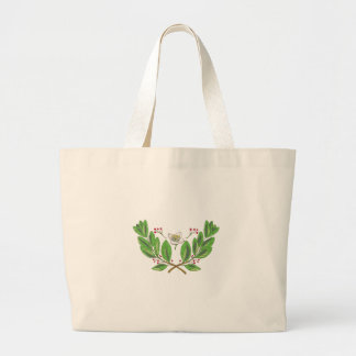 Yerba Mate Flower Leaf and Fruit Drawing Large Tote Bag