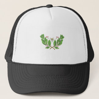 Yerba Mate Flower Leaf and Fruit Drawing Trucker Hat