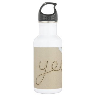 Yes carved word on the beach sand 532 ml water bottle