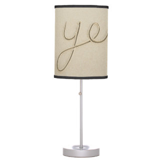 Yes carved word on the beach sand table lamp