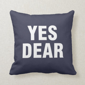 """Yes Dear"" Personalized blue Pillow"