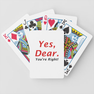 Yes Dear Youre Right Bicycle Playing Cards