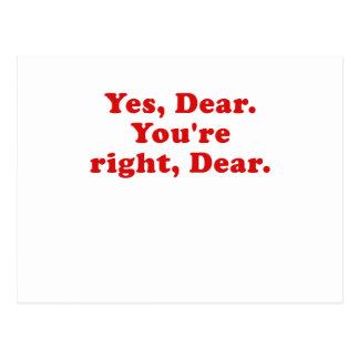 Yes Dear You're Right Dear Postcard