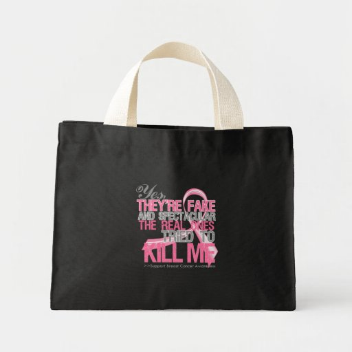 Yes Fake and Spectacular - Breast Cancer Canvas Bag