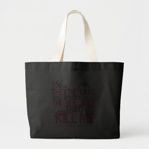 Yes Fake and Spectacular - Breast Cancer Canvas Bags