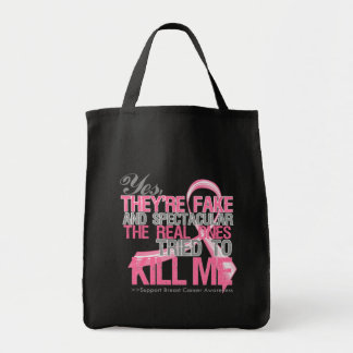 Yes Fake and Spectacular - Breast Cancer Grocery Tote Bag