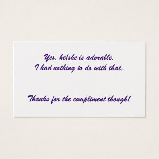 Yes, he/she is adorable. business card