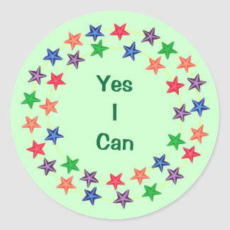 Yes I Can Circles of Colorful Stars Stickers